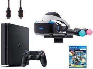 PlayStation VR Start Bundle (5 Items): VR Headset, Move Controller, PlayStation Camera Motion Sensor, Sony PS4 Slim 1TB Console - Jet Black, VR Game Disc RIGS Mechanized Combat League
