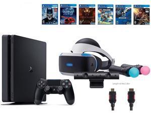 PlayStation VR Bundle (8 Items): VR Starter Bundle, Sony PS4 Slim 1TB Console, 6 VR Game Discs (Until Dawn: Rush of Blood, EVE: Valkyrie, Battlezone, Batman: Arkham VR, DriveClub, Battlezone)