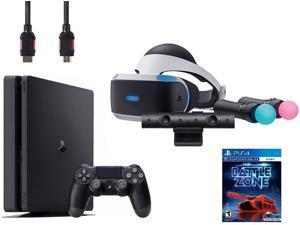 PlayStation VR Start Bundle (5 Items): VR Headset, Move Controller, PlayStation Camera Motion Sensor, Sony PS4 Slim 1TB Console - Jet Black, VR Game Disc PSVR Battlezone