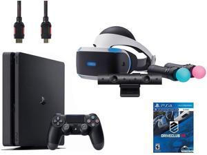 PlayStation VR Start Bundle (5 Items): VR Headset, Move Controller, PlayStation Camera Motion Sensor, Sony PS4 Slim 1TB Console - Jet Black, and VR Game Disc PSVR DriveClub