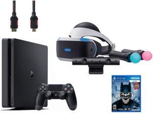 PlayStation VR Start Bundle (5 Items): VR Headset, Move Controller, PlayStation Camera Motion Sensor, Sony PS4 Slim 1TB Console - Jet Black, and VR Game Disc Arkham VR