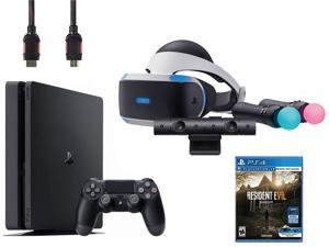 PlayStation VR Bundle (5 Items): VR Headset, Playstation Camera, Playstation Move Motion Controllers, Sony PS4 Slim 1TB Console - Jet Black, VR Game Disc Resident Evil 7: Biohazard