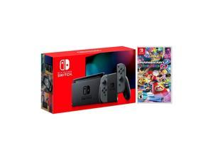2019 New Nintendo Switch Gray Joy-Con Improved Battery Life Console Bundle with Mario Kart 8 Deluxe NS Game Disc - 2019 Best Game!
