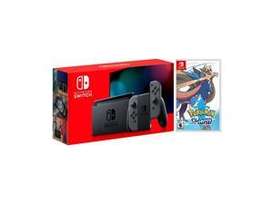 2019 New Nintendo Switch Gray Joy-Con Improved Battery Life Console Bundle with Pokémon Sword NS Game Disc - 2019 New Game!