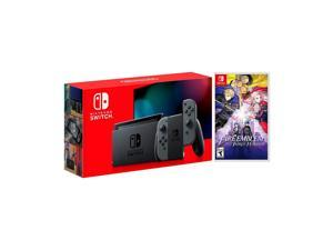 2019 New Nintendo Switch Gray Joy-Con Improved Battery Life Console Bundle with Fire Emblem: Three Houses NS Game Disc - 2019 New Game!