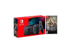 2019 New Nintendo Switch Gray Joy-Con Improved Battery Life Console Bundle with Octopath Traveler NS Game Disc - 2019 New Game!