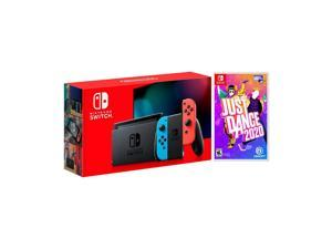 2019 New Nintendo Switch Red/Blue Joy-Con Improved Battery Life Console Bundle with Just Dance 2020 NS Game Disc - 2019 New Game!