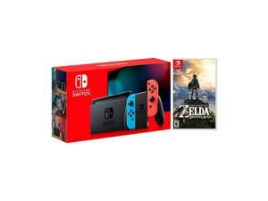 2019 New Nintendo Switch Red/Blue Joy-Con Improved Battery Life Console Bundle with The Legend of Zelda: Breath of the Wild Game Disc - 2019 Best Game!