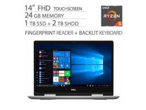 "Dell Inspiron 14"" 2 in 1 FHD Touchscreen Home and Business Laptop, Ryzen 5-3500U, 24GB RAM, 1TB SSD+2TB SSHD, 4 Cores up to 3.70 GHz, Vega 8 Graphics, USB-C, Backlit, Fingerprint, WebCam, Win 10"