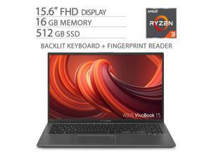 "ASUS VivoBook 15.6"" FHD NanoEdge Home and Business Laptop, AMD Ryzen 3 3200U up to 3.50 GHz, 16GB DDR4 RAM, 512GB M.2 SSD, Fingerprint Reader, USB-C, Backlit, Keypad, 1920x1080, HDMI, Win 10"