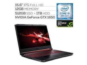"Acer Nitro 5 Gaming Laptop, 15.6"" IPS Full HD, GTX 1650, Core i5-9300H up to 4.10 GHz, 12GB RAM, 512GB SSD+1TB HDD, Backlit, RJ-45 Ethernet, BT 5.0, USB-C, Win 10"