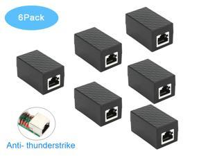 RJ45 Coupler 6Pack RIITOP In Line Coupler Cat7 Cat6 Cat5e Ethernet Cable Extender Adapter Female to Female (Black)