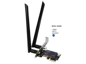 PCI-e Wireless WiFi 6 Adapter Card Dual Band 3000Mbps + Bluetooth 5.0, Intel AX200 802.11ax MU-MIMO OFDMA For Desktop PC Computer (Only work on Windows 10 64bit system)