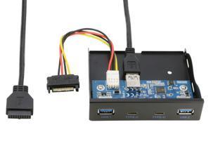 2 Port USB Type C USB-C & 2 Port USB 3.0 Hub Front Panel