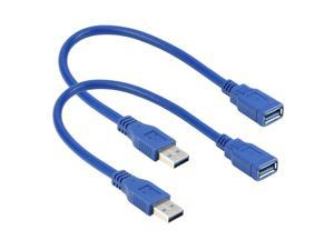 2Pack USB 3.0 Extension Cable 1Feet, RIITOP 30CM Hi Speed 5Gbps USB3.0 Type A Male to Female Extender Cord in Blue