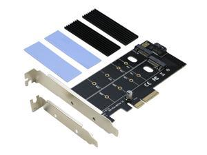 RIITOP Dual M.2 SSD to PCIe SATA Adapter, M Key M.2 NVME AHCI SSD to PCIe 3.0 x4 and B  Key M.2 SSD to SATA Adaptor Converter Card with Low Profile Bracket and 2Pack Heatsink
