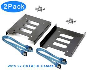 "RIITOP 2.5 to 3.5 HDD SSD Bracket Mounting Adapter Kit Metal for Internal 3.5"" HDD Drive Bay (2Pack) + 2pcs SATA3.0 Cables"