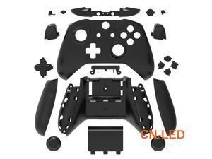 WPS Matte Black Case Housing Full Shell Set Faceplates + ABXY Buttons + RB LB Bumpers + Right/Left Rails for Xbox One S Slim  (3.5mm Headphone Jack) Controllers for 1708 version