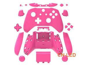 WPS Matte Pink Case Housing Full Shell Set Faceplates + ABXY Buttons + RB LB Bumpers + Right/Left Rails for Xbox One S Slim (3.5mm Headphone Jack) Controllers for 1708 version