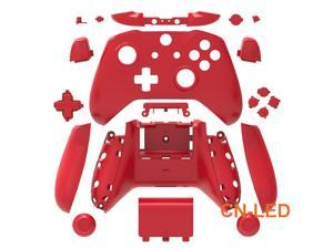 WPS Matte RED Case Housing Full Shell Set Faceplates + ABXY Buttons + RB LB Bumpers + Right/Left Rails for Xbox One S Slim  (3.5mm Headphone Jack) Controllers for 1708 version