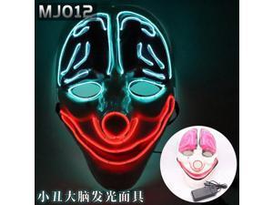Halloween LED glowing mask alien zombie panda face samurai skull scary civet cat pumpkin head, Halloween mask(Batteries not included) Pink
