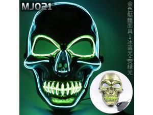 Halloween LED glowing mask alien zombie panda face samurai skull scary civet cat pumpkin head, Halloween mask(Batteries not included)