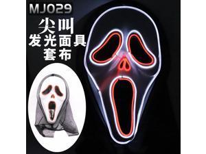 Halloween LED glowing mask alien zombie panda face samurai skull scary civet cat pumpkin head, Halloween Scream glow mask(Batteries not included)