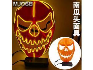 Halloween LED glowing mask alien zombie panda face samurai skull scary civet cat pumpkin head, Pumpkin head mask(Batteries not included) Orange