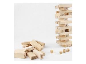 Pine Jenga Box 54 Pieces 4 Dices Presented Bulding Stock Domino Small Digit Jenga