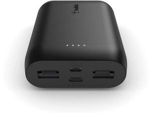 Belkin 10000mAh Portable Power Bank Charger Dual USB & USB-C In/Out - Black