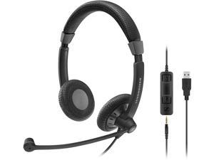 EPOS SC 75 USB MS (1000635) - Double-Sided Business Headset | For Skype for Business, with Mobile Phone, Tablet, Softphone, and PC | HD Sound & Noise-Cancelling Microphone (Black)