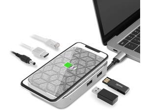 Moshi Symbus Q USB C Hub, 6-in-1 Docking Station with 15W Wireless Charger for iPhone 12 Series, AirPods Pro/Galaxy/Pixel, HDMI 4K HDR, USB C PD Fast-Charging 60W, Dual USB-A, Gigabit Ethernet Port