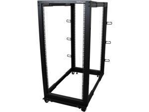 StarTech.com 4POSTRACK25U 25U Adjustable Depth Open Frame 4 Post Server Rack Cabinet - w/ Casters / Levelers and Cable Management Hooks