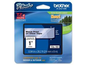 "Brother P-touch TZe 1"" Laminated Tape Cartridge - 1"" Width x 26 1/5 ft Length - Rectangle - Thermal Transfer - Clear - 1"