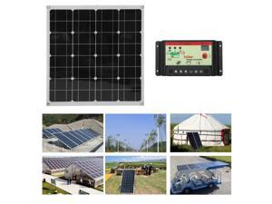 50W Flexible Outdoor Solar Panel Board Solar Power Charging  For Off Grid RV Boat Motorhome+10A Controller+3FT Wire With Clamp
