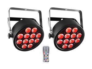 (2) Chauvet SlimPAR T12 BT Bluetooth RGBA Sound-Activated Par Wash Lights+Remote