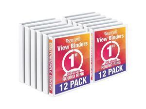 """Samsill Economy 1"""" 3 Round Ring View Binder 12 Pack White I008537C"""