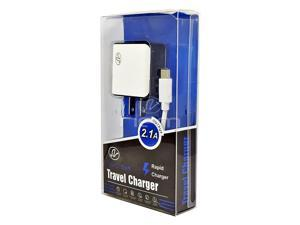 For Motorola Moto G7 Accessory Kit Wall Charger 2.1A w/ USB-C Power Data Cable White