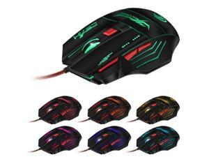 USB Wired Gaming Mouse Glow 7 Keys Optics 3200DPI For Desktop Computers Notebook Game Office green