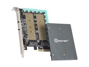 I/O CREST Dual M.2 SATA and PCIe Nvme SSD to PCIe X4 Adapter Card with 12V RGB Heatsink 2280 2260 2242 2230