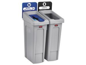 Rubbermaid Commercial 2007914 Slim Jim Recycling Station, 2 Stream Landfill / Mixed Recycling Bin