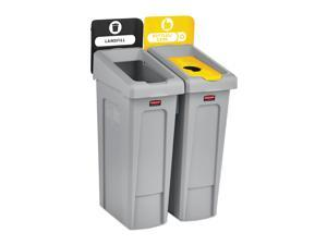 Rubbermaid Commercial 2007916 Slim Jim Recycling Station, 2 Stream Landfill / Bottles Cans Bin