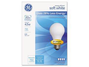 General Electric Co. 66247 Halogen Bulb, Globe, 43 Watts, Soft White, 4/Pack