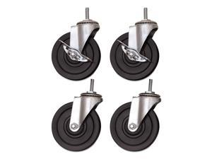 Alera SW690004 Optional Casters for Wire Shelving, 200 lbs/Caster, Gray/Black, 4/Set