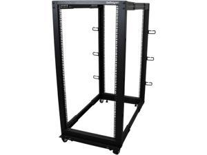 StarTech.com 4POSTRACK25U 25U Adjustable Depth Open Frame 4 Post Server Rack Cabinet - w/ Casters / Levelers and Cable Management Hooks