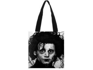 Edward Scissorhands High Capacity Women Tote Ladies Casual Solid Shoulder Bag Foldable Reusable Women Shopping Beach Bag size:11.8x11.8 inches Double-sided Printing