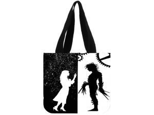 Edward Scissorhands Solid Canvas Tote Bag Shoulder Bag Eco Shopping Bag Daily Use Foldable Crossbody Bag Purses Casual Handbag size:12.2x11x3.3 inches Double-sided Printing