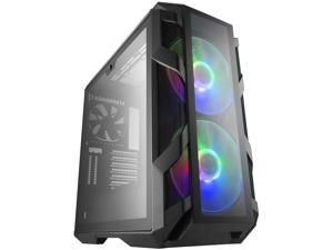 Cooler Master MasterCase H500M ATX Mid-Tower Computer Case Four Tempered Glass Panels  with Addressable RGB Fans & Controller  Watercooling Support