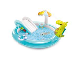 Intex  Gator Outdoor Inflatable Kiddie Pool Water Play Center with Slide,Splash and swim in the pool
