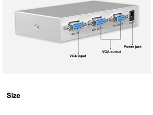 2 Ports VGA Splitter 1 to 2 VGA Video Audio Splitter VGA allocator MT-1502-K